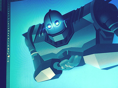 Iron Giant Illustration flare retro future robot blue animation giant iron illustration