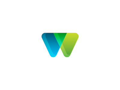 W Logo Mark business button icon green concept startup brand branding xalion usama logo w