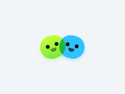 Logo Mark - Simple Idea blue green happy icon face smiley simple