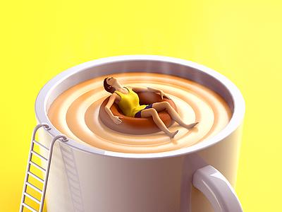 Coffee Break - Daily 3D model smoke cream 3dillustration c4d illustration break coffee render 3d daily