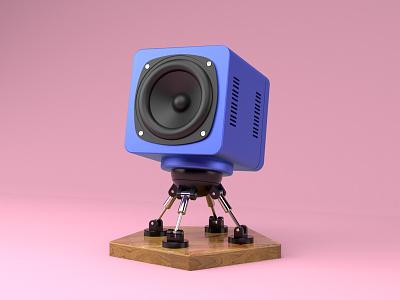 Speaker Robot - Daily 3D freebie tutorial metalic c4d cinema 4d bot robot speaker render 3d daily