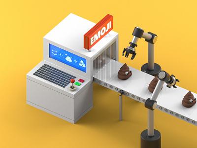 Emjoy Factory - Daily Render poop emoji 3d emoji emoji cartoon style robots illustration render 3d cinema 4d
