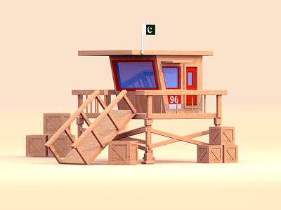 Lifeguard Shack pakistan cinema 4d 3d illustration illustration design beach lifeguard 3d render