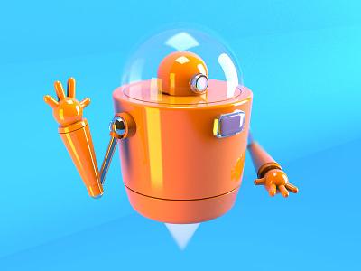 Daily 3d - Flying Robot creative direction ui clean 3d render simple 3 setup lightning disney style illustration disney cinema 4d 3d render 3d illustration 3d robot 3d robot