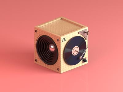 Daily 3d - Vinyl Player 3d illustration render 3d render vinyl cube isometric illustration illustration freebie free 3d model free daily 3d cinema4d creative c4d branding 3d vinyl 3d design 3d 3 color