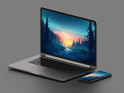 Macbook Mockup - Free! psd 6k 4k isometric mockup isometric iphone mockup iphone x mockup iphone mockup laptop mockup laptop mackbook mockup