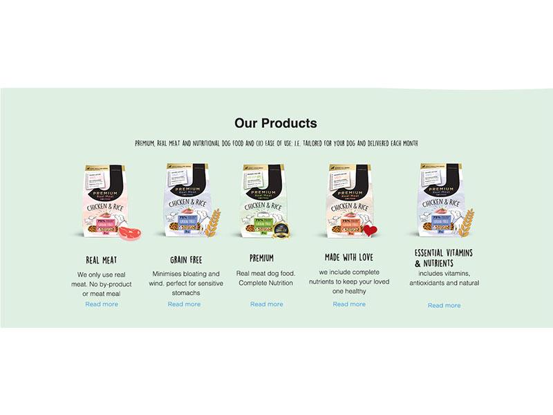 Products dog's food print logo web flat landing page ui app banner ads illustration design branding hire me elegant poster dog food products simple photoshop typography website