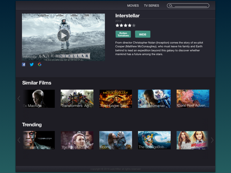Streaming Media UI the internets web app movies tv streaming video dark sketch ui