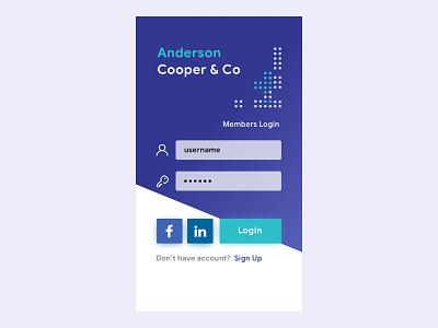 iOS Login for Corporate Portal sketch invision design dribbble flatui ux ui behance login linkedin facebook ios