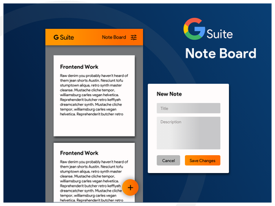 Concept UI for Note Board in Google G Suite google google ui google design design mobile dribbble ux sketch invision ui materialdesign ios android behance