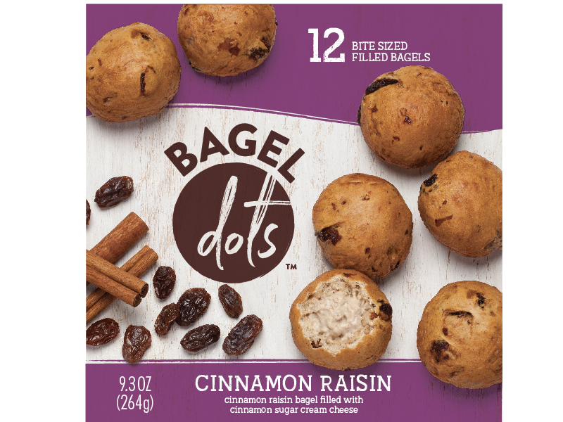 Bagel Dots zipper raisin cinnamon frozen film breakfast purple food label package design packaging bagels