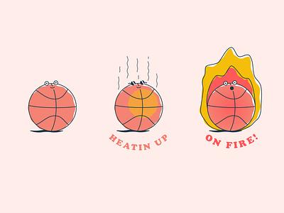 Ball is Life — Hot hoops ballin geometric life nba jam on fire heatin up heat basketball doodle cartoon design vector illustration