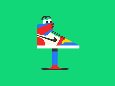 Jordan 1 negative space color nike jordan sneaker minimal cartoon figma doodle design vector illustration