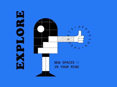 Opposing Thoughts 01 - Explore poster modern opposing thoughts character explore line figma type typography graphic design design vector illustration