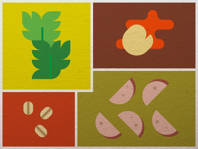 Food Journal Day 10 grid farro sausage gnocchi kale icon minimalism design vector illustration