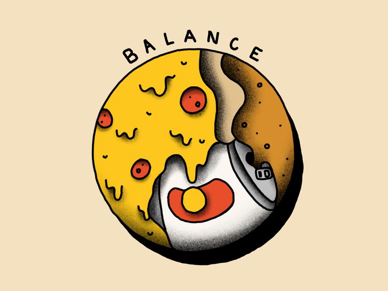 Food Journal Day 14 design doodle yin yang balance flash tattoo beer pizza food illustration