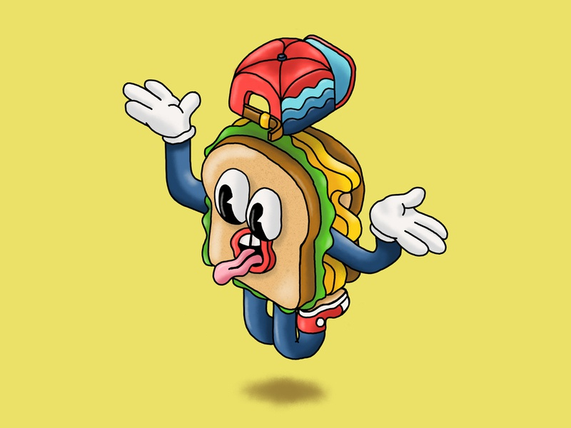 Food Journal Day 16 sketch doodle procreate design character design illustrator sandwich food cartoon illustration