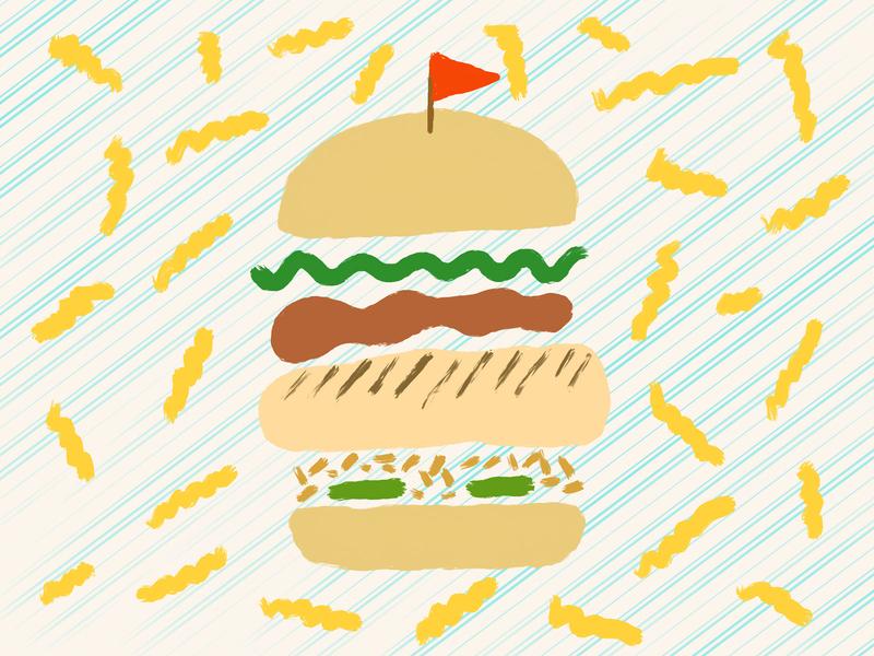 Food Journal Day 21 procreate fries chicken sandwich doodle food design cartoon vector illustration