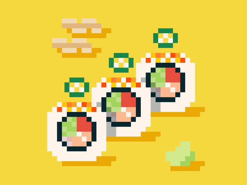 Food Journal Day 29 illustrator sushi pixel art pixel doodle food design cartoon vector illustration