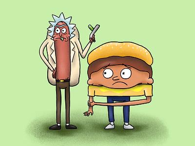 Rickdog & Burgermorty vector sci-fi texture design doodle cartoon illustration character design rick and morty rickandmorty