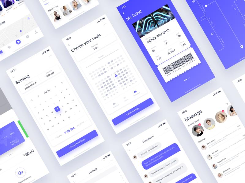 Movetey - UI & Animation flat ux clean branding ticket logo animation ui app