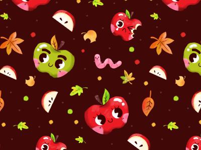 Apple Pattern apple pattern worm fall leaves slices autumn