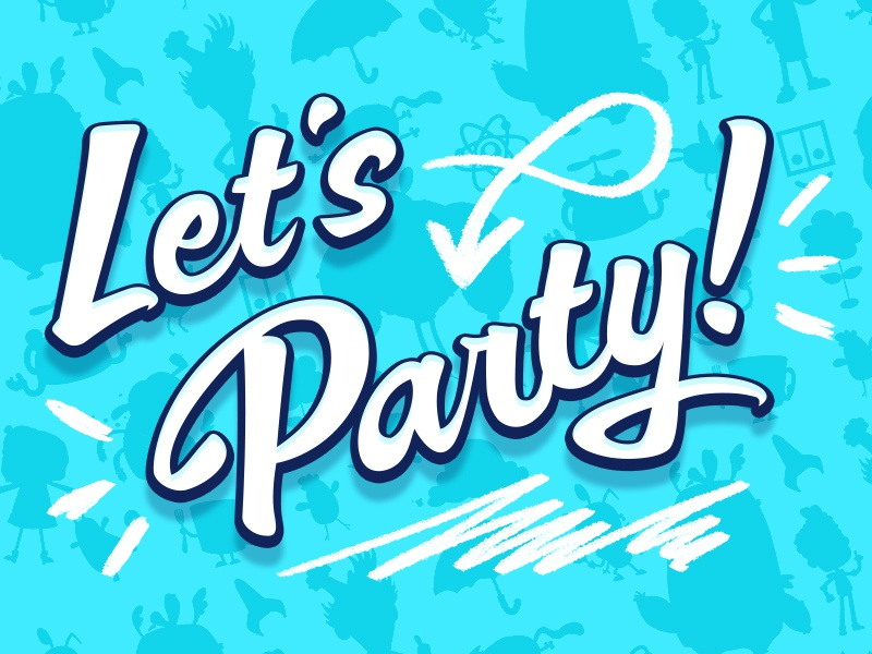 Let's Party! doodle pattern typography script cloudkid invitation invite party