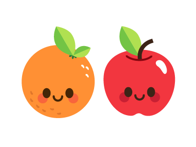 Happy Fruit! apple orange happy cute