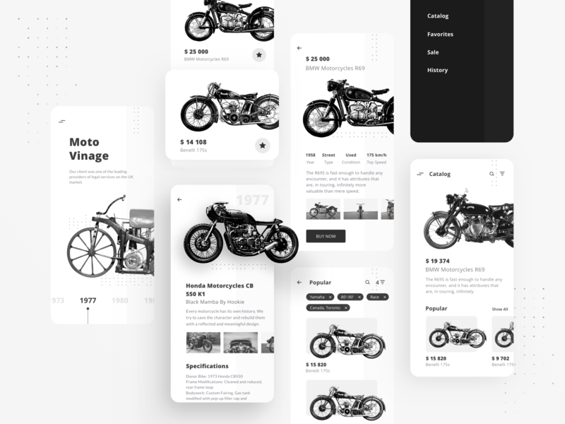 Motorcycle E-commerce App Concept white balck minimalistic catalog store mobile ios ui motorcycle e-commerce app ux