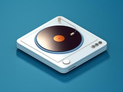 Turntable 3D stereo gramophone equipment music vintage sound retro audio vinyl blue 3d turntable