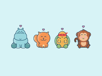Fan Club animals illustration ouistiti monkey tortoise turtle cat hippopotamus