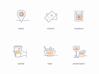 Conference Design Kit Icons party food coffee schedule tickets venue clean simple outline california conference icons