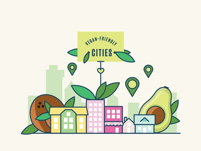Vegan-friendly cities for The Vegan Carrot cities plant-based characters carrot kids vector icons vegan
