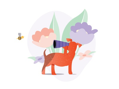 Nothing Here characters vector bee dog illustration