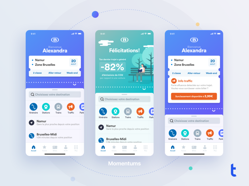 Train App Concept - Momentums mobile app product design mobile travel app design ui design transportation transport train ux typography interface ui icons app companion application illustration design