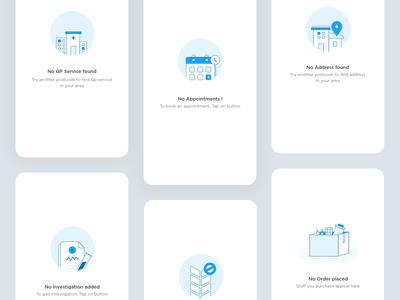 Empty state series#2 walkthrough 24designstudio emptystate illustration ios mobile ui ux book appointment online doctor onboarding