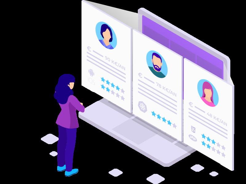 Illustration recruiter illustrator creation design ui illustration vector recruitment bluecoders