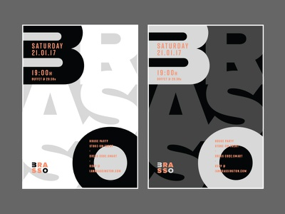 Brasso 30 Posters Continued... layout typography type party posters mockup birthday design print logo poster