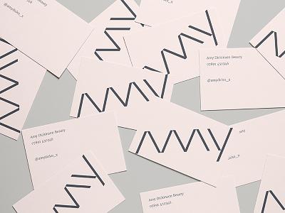 Amy Business Cards business card blush beauty amy mockup design concept branding logo
