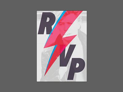 Bowie RSVP reply invitation bolt print design bowie rsvp