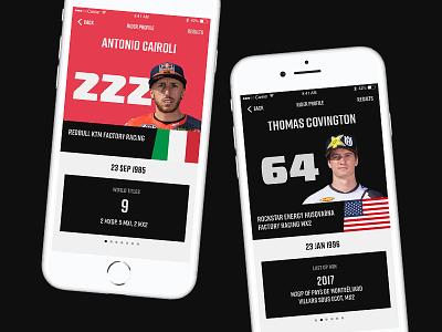 Daily UI 006 racing mxgp motocross iphone mockup app profile user 006 interface ux dailyui