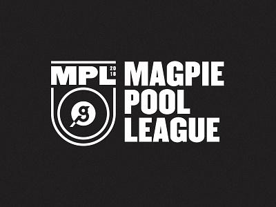 Magpie Pool League 02 8 ball logo bird badge shield crest league pool magpie