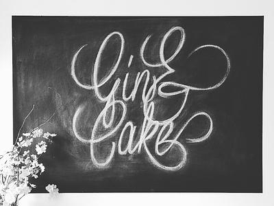 Gin & Cake script typography cake gin chalkboard chalk drawn hand type lettering