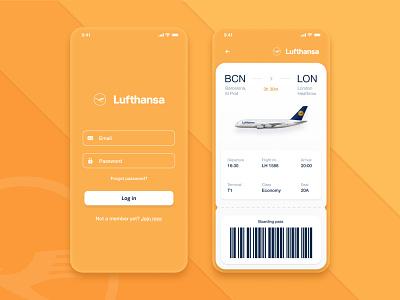 Lufthansa App UI Design flight booking orange ui app ui plane ticket flight app booking app ui app design