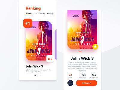 Movie rating App UI app design movieapp johnwick ui