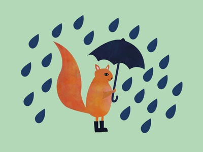 Squirrel in the drizzle