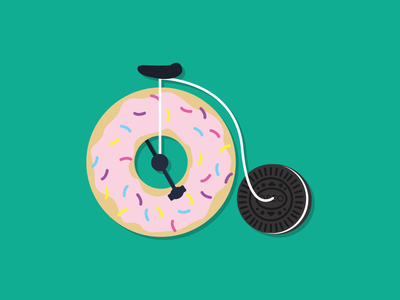 A sweet ride 🍬 penny farthing sweets tasty donut cute design vector cycle illustration