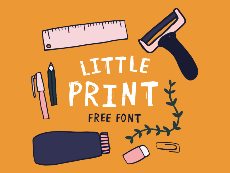 Little Print - Free Font! illustrator printmaking linoprint design illustration freefont typeface type font