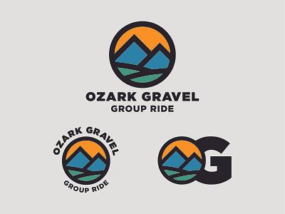 Ozark Gravel bicycle biking gravel cycling outdoors logo design logotype thick lines logo