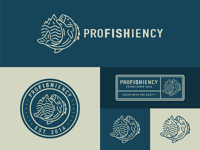 Profishiency 1 identity logo vintage camping hunting trout outdoors fishing fish